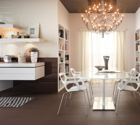 Modern-white-kitchen-chandelier-Brick-tiles