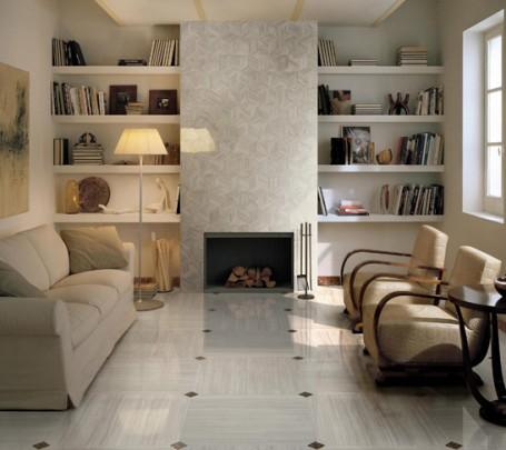 Sophisticated-livining-room-brown-white-floor-tile