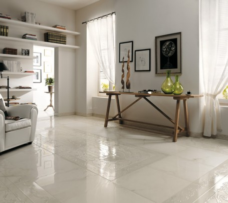 Textured-white-ceramic-tile-border-floor