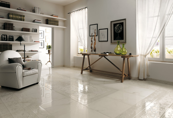 %name Textured white ceramic tile border floor
