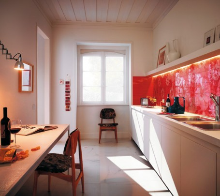 Unusual-floral-red-ceramic-tile-kitchen-backsplash