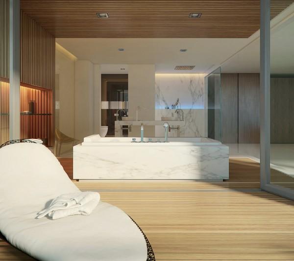 bath wood paneling 600x533 الفخامة بلا حدود في تصاميم حمامات راقية