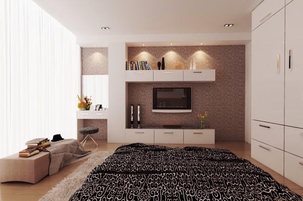bedroom television ideas 600x399 تصاميم غرف نوم لأصحاب الذوق الرفيع