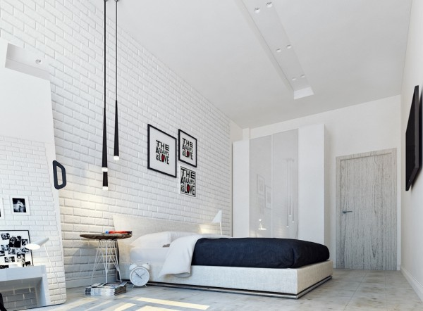 bight white bedroom 600x442 تصاميم غرف نوم لأصحاب الذوق الرفيع