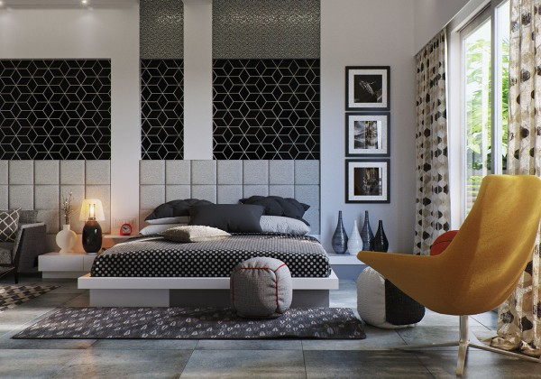 black and white bedroom 600x420 تصاميم غرف نوم لأصحاب الذوق الرفيع