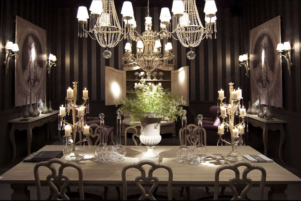 classical dining room with candles classical dining room with candles