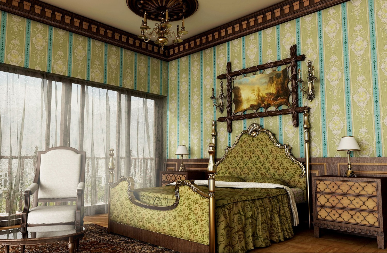 classical royal green bedroom 1500x982 صور غرف نوم كلاسيكية أقرب إلي الملكية