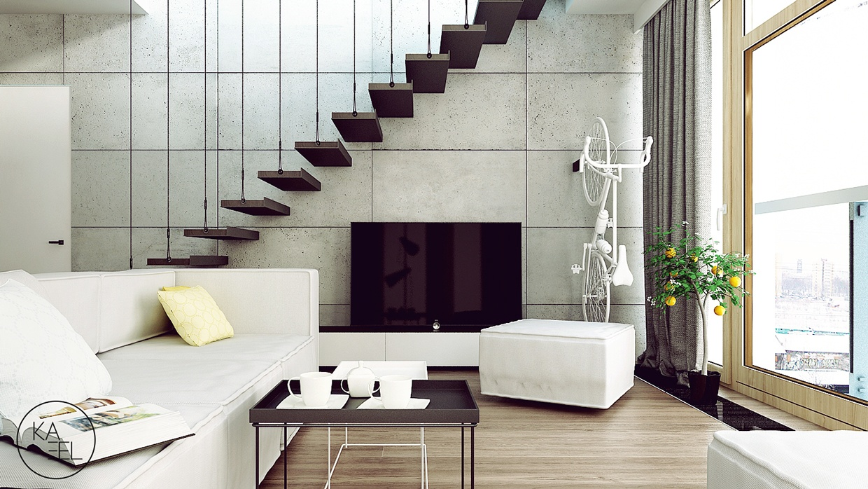 concrete accent wall منزل مودرن يمثل الإبداع في كل أركانة