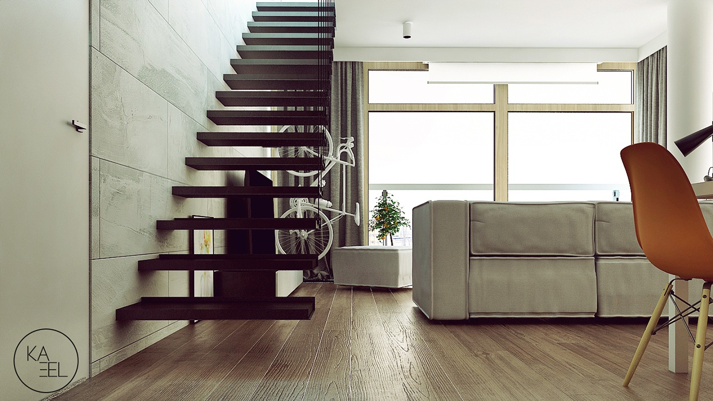 floating staircase منزل مودرن يمثل الإبداع في كل أركانة