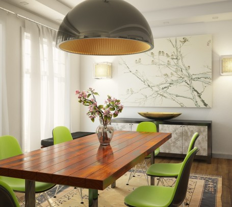 green-white-dining-room-wooden-table
