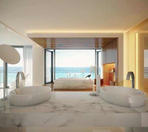 marble bath 600x533 الفخامة بلا حدود في تصاميم حمامات راقية