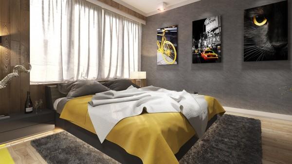 mustard yellow duvet 600x337 ٦ غرف نوم بتصميم عصري مودرن
