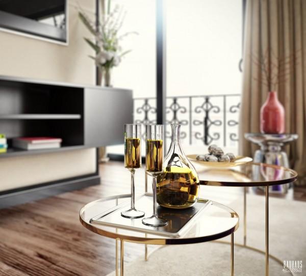 nesting brass tables 600x542 ٦ غرف نوم بتصميم عصري مودرن