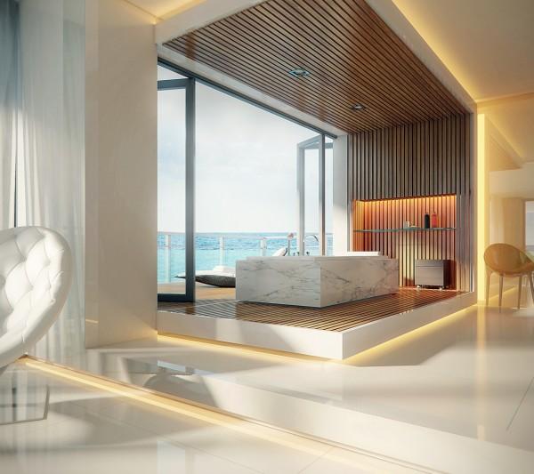 ocean view bath 600x533 الفخامة بلا حدود في تصاميم حمامات راقية