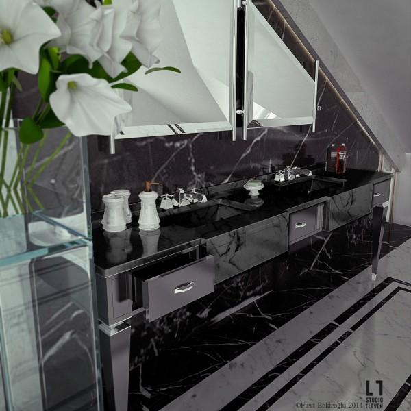 sleek black bathroom 600x600 sleek black bathroom 600x600