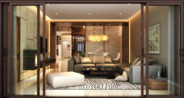 sliding wood frame doors 600x3211 كيف تختارين تصميم غرفة جلوسك في 2016