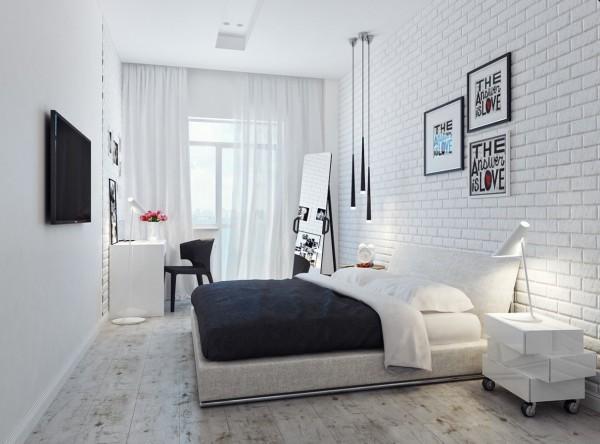 small white bedroom 600x444 تصاميم غرف نوم لأصحاب الذوق الرفيع