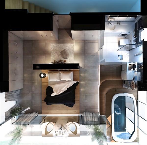 stunning zen bedroom 600x592 ٦ غرف نوم بتصميم عصري مودرن