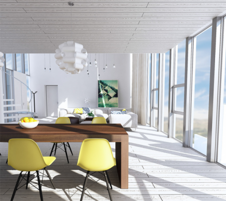sunny-yellow-eames-chairs-600x599