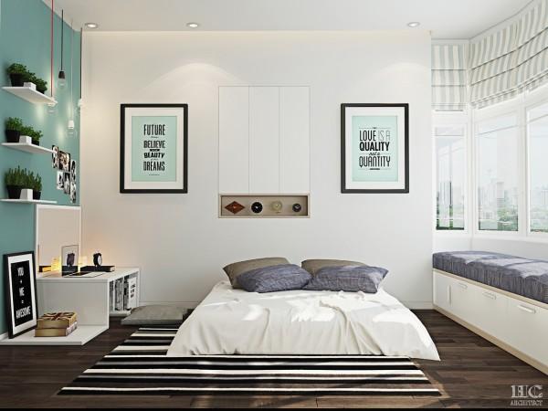 teal accent wall 600x450 تصاميم غرف نوم لأصحاب الذوق الرفيع
