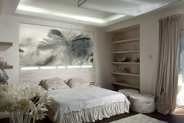 white bed ruffle 600x400 ٦ غرف نوم بتصميم عصري مودرن