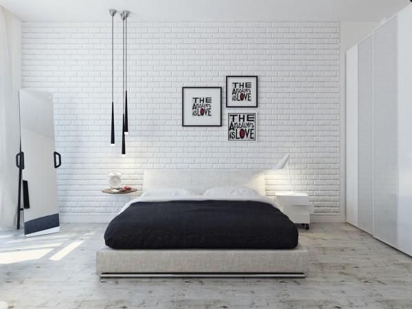white brick wall 600x449 تصاميم غرف نوم لأصحاب الذوق الرفيع