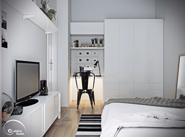 white cabinetry 600x444 تصاميم غرف نوم لأصحاب الذوق الرفيع