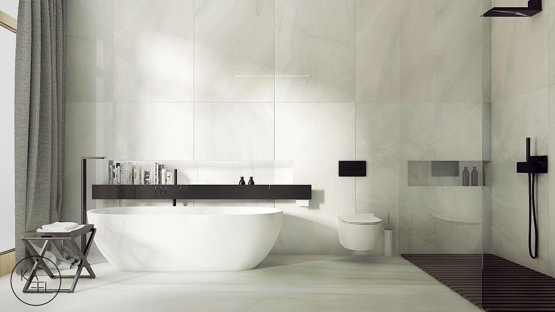 white soaking tub منزل مودرن يمثل الإبداع في كل أركانة